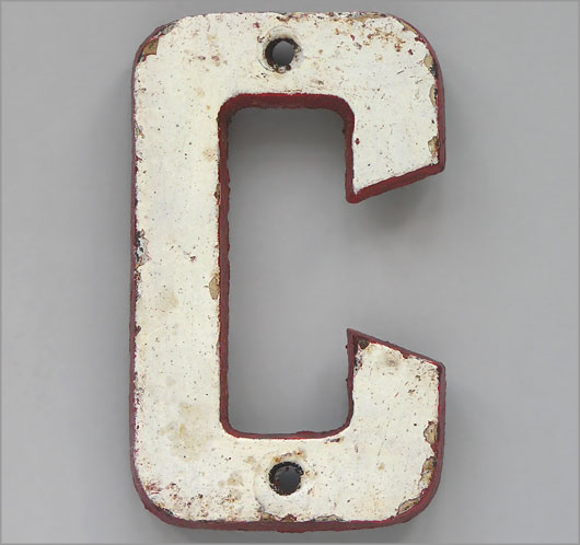 Vintage painted cast iron railway sign letter 'C'