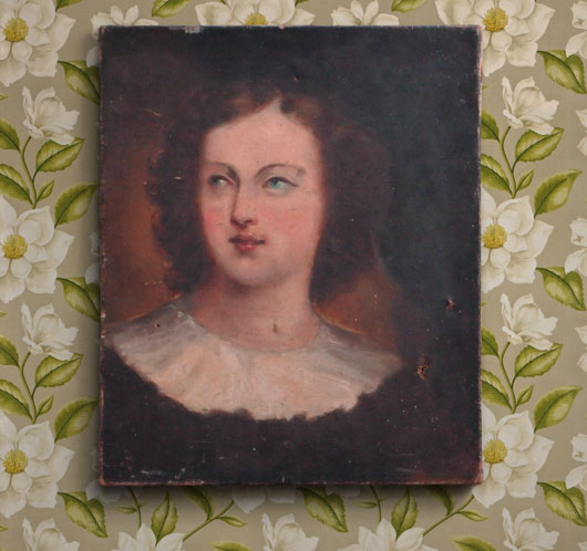 19th-century antique French oil on canvas portrait of a lady