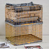 Large stackable metal storage baskets, painted