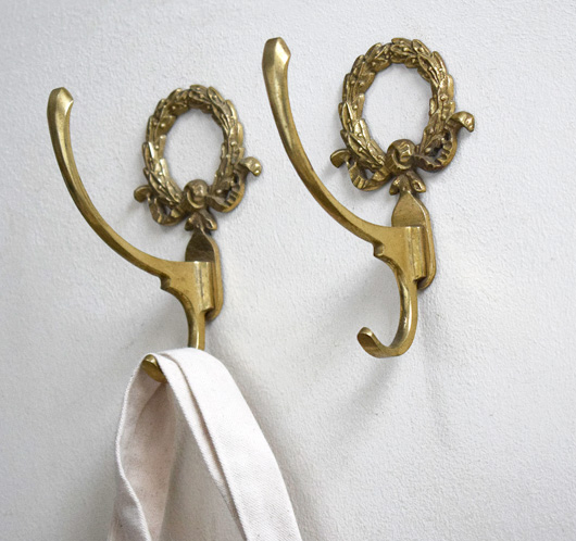 1920s antique decorative brass wall hooks