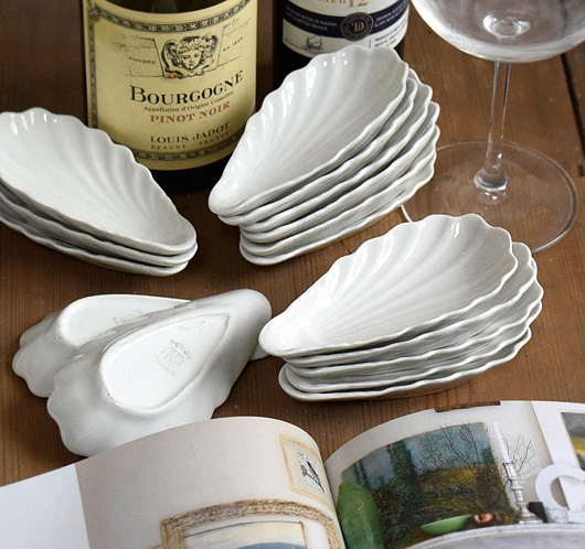 Vintage French porcelain oyster shell serving dishes