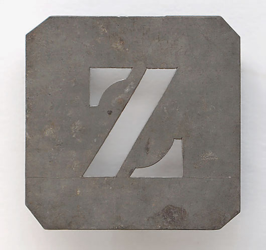 Early-1900s vintage French zinc metal letter stencil: 'Z'