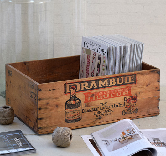 Large mid-1900s vintage wooden packing crate: Drambuie