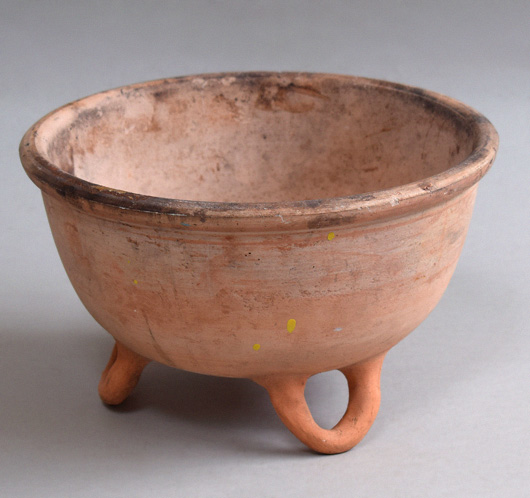 French vintage footed terracotta cauldron, c. 1900