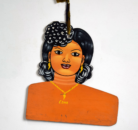 Vintage West African folk art dress hanger: Edna