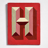 Painted wooden sign letter plaque: H