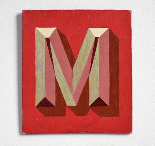 Painted wooden sign letter plaque: M